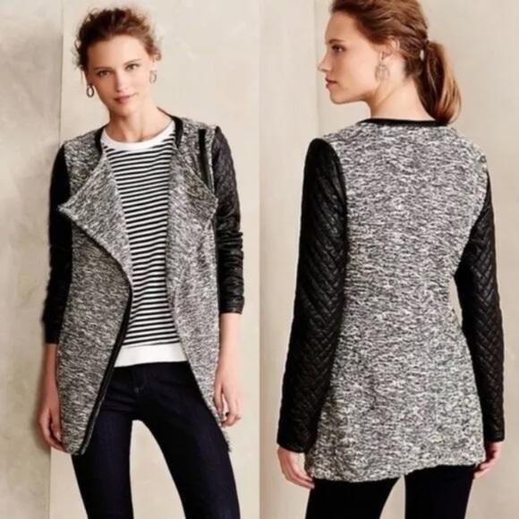 Cartonnier Tweed Asymmetric Zip Vegan Leather Coat